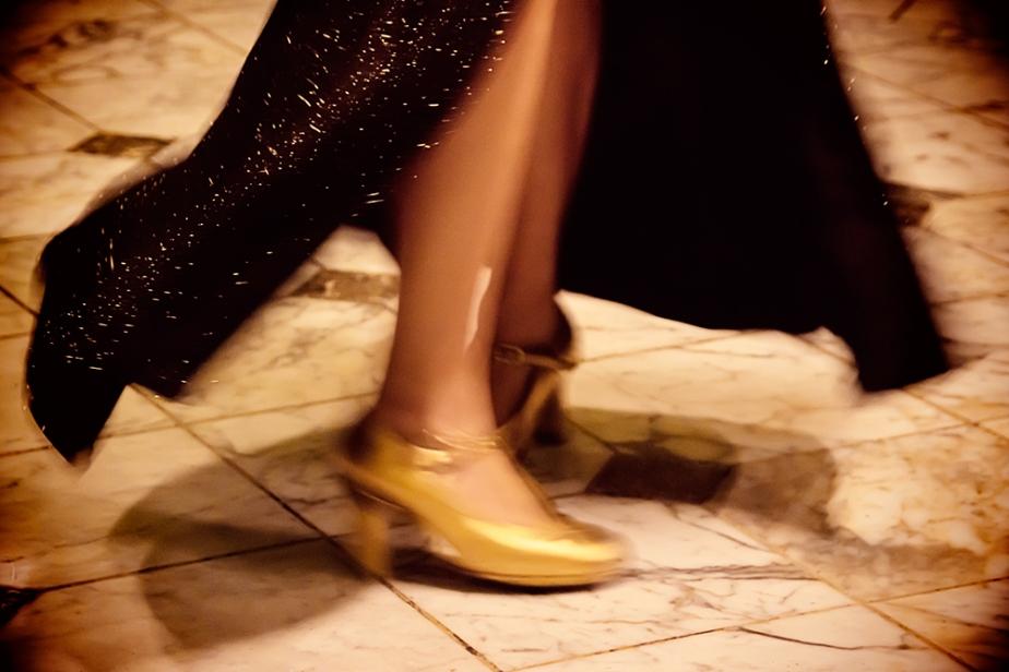 Slow motion dancer's feet.