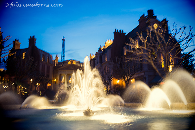 "An 8"" exposure, no tripod, just leaning on fountain's border. Processed with radlab."